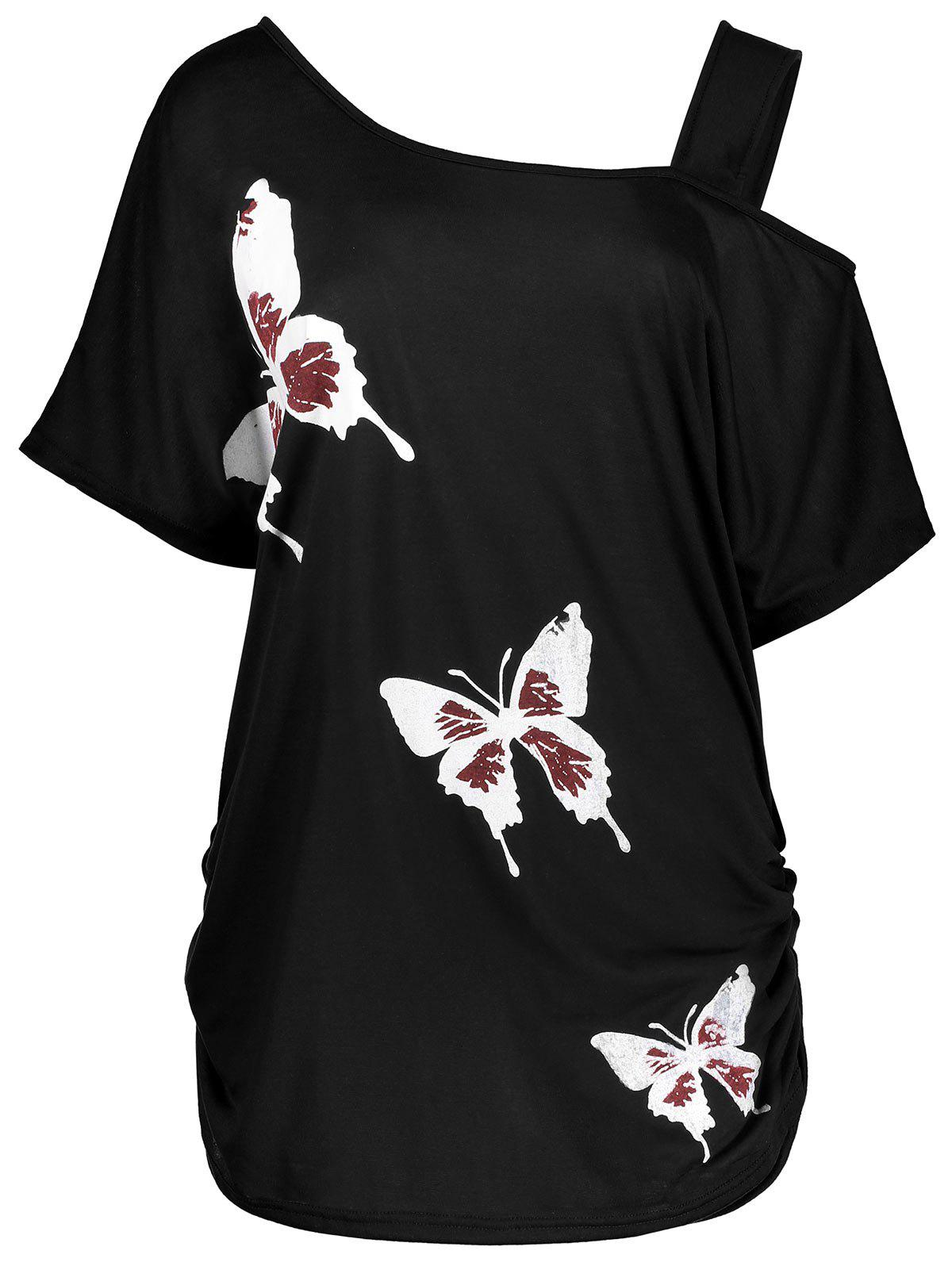 Plus Size Cold Shoulder Butterfly Print Top - BLACK XL