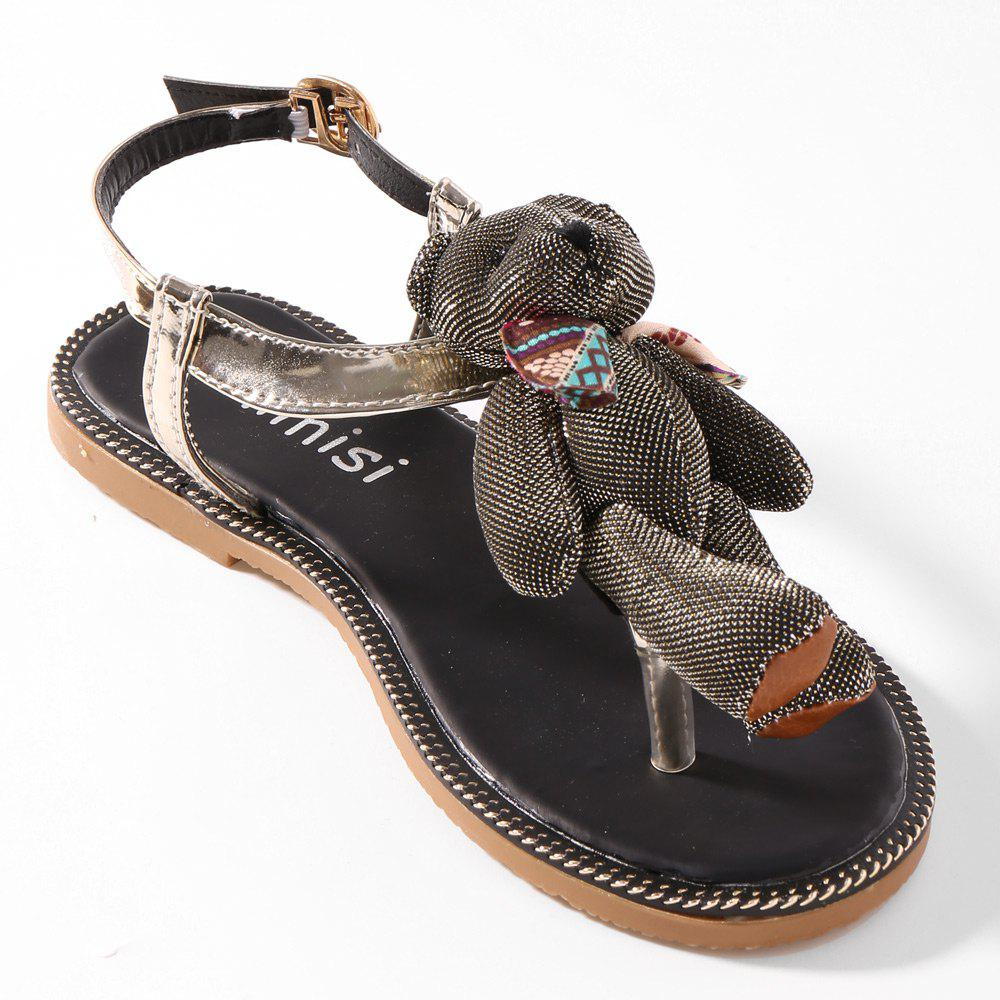 T Strap Bear Stitching Flip Flot Sandals - GOLDEN 39
