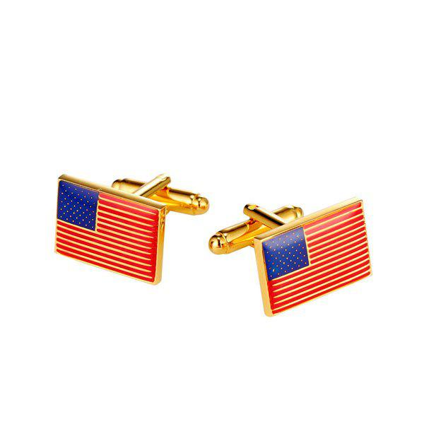Patriotic American Flag Pattern Cufflinks - GOLDEN