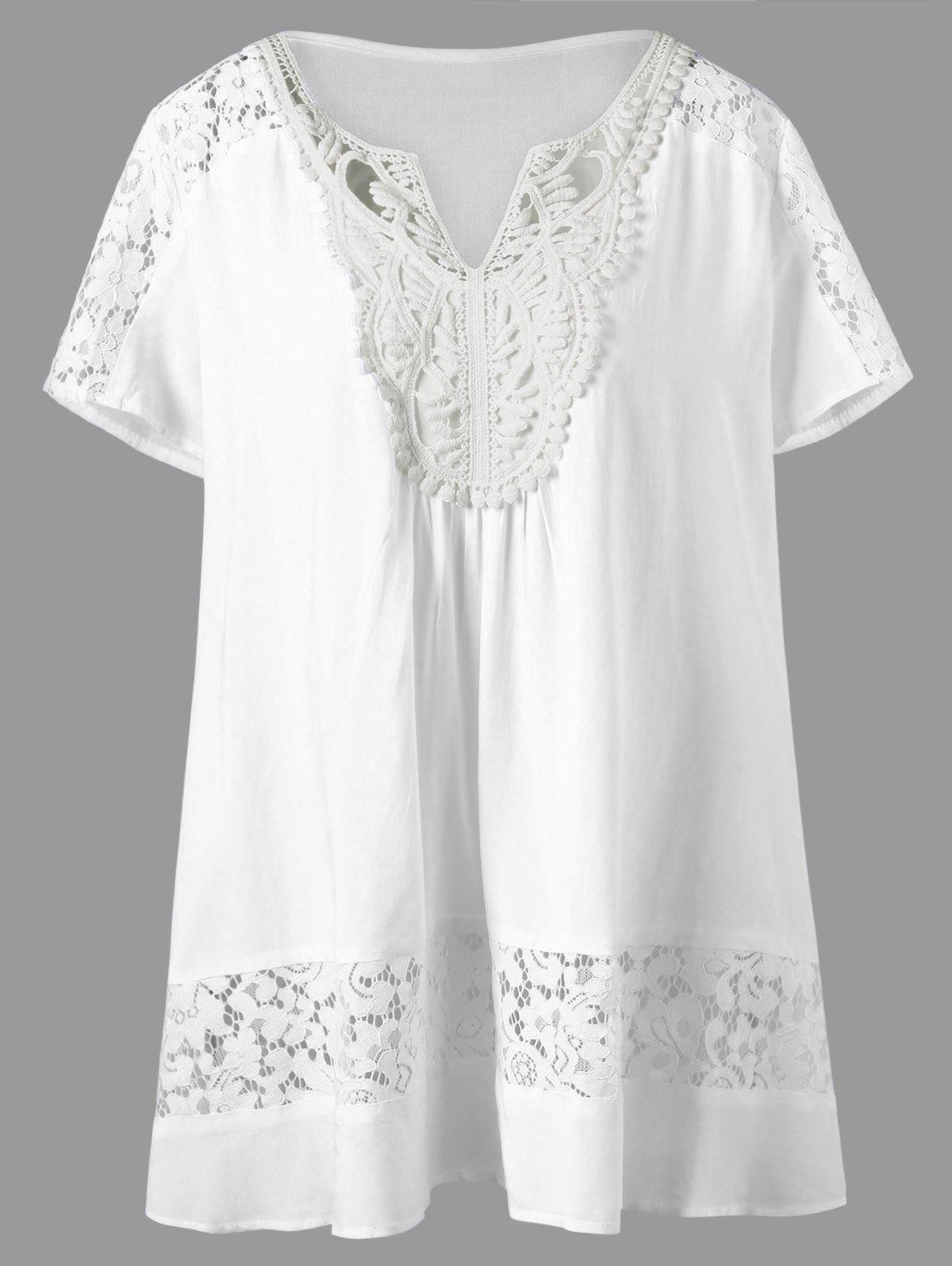 V Neck Plus Size Lace Panel Tunic - WHITE 4XL