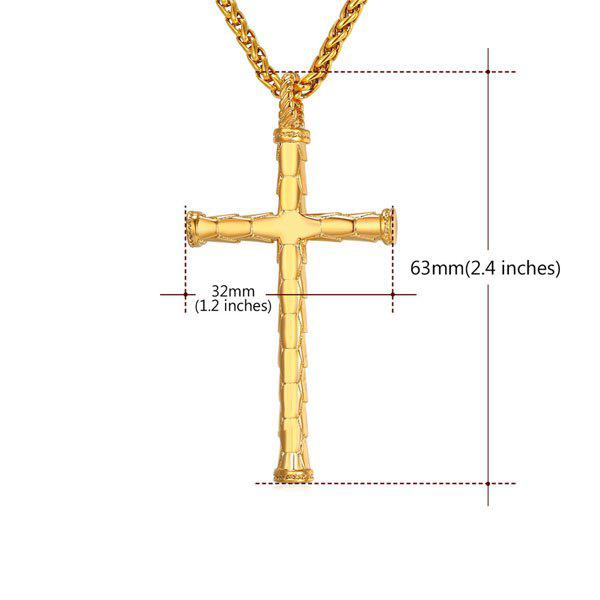 Stainless Steel Crucifix Shaped Pendant Necklace - GOLDEN