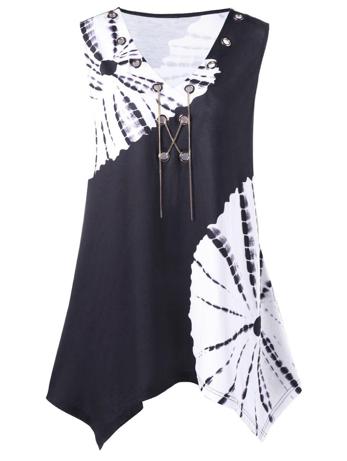 Plus Size Chains Detail Tie Dye T-Shirt - WHITE/BLACK 3XL