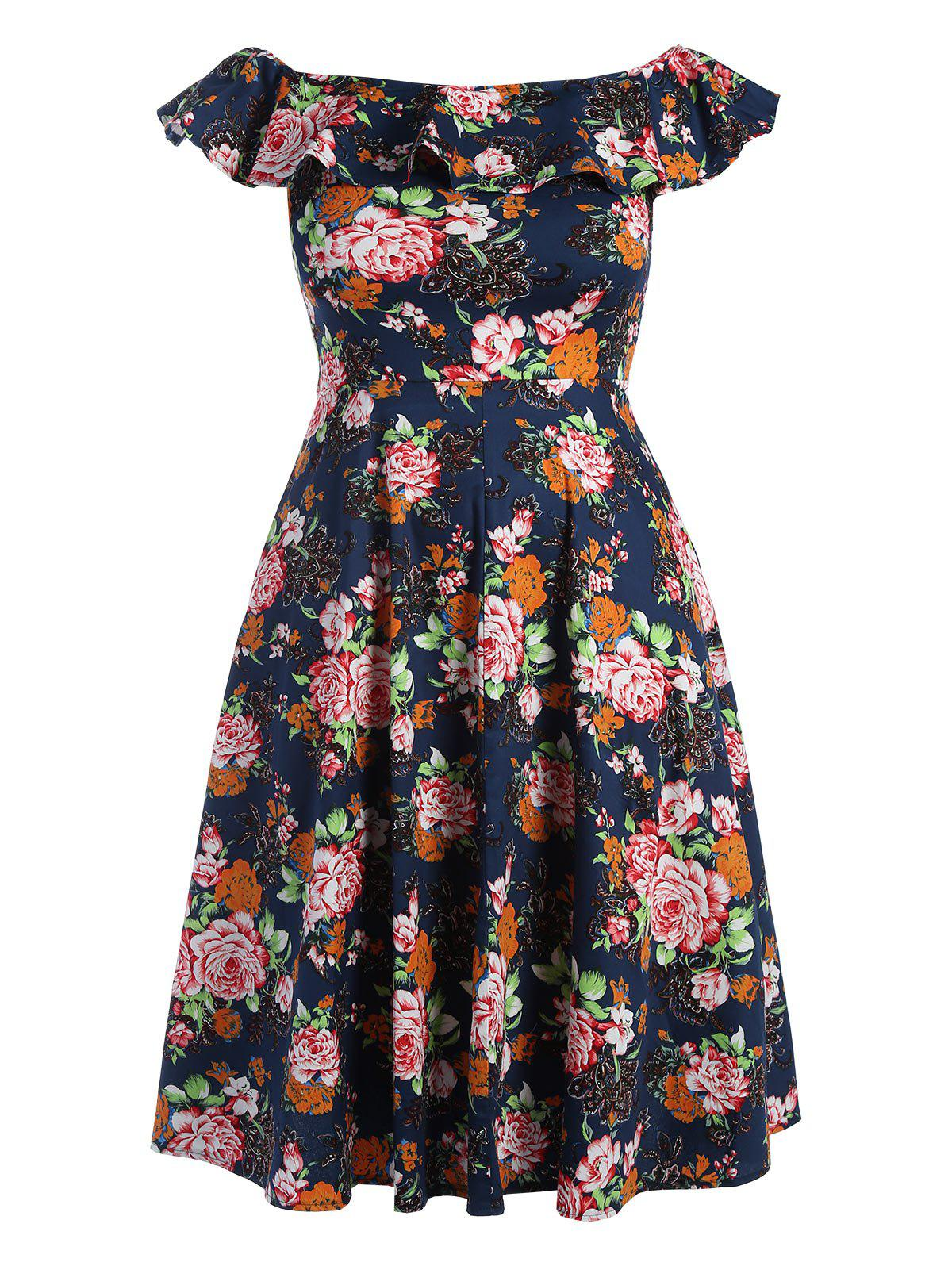 Plus Size Flounce Floral Off The Shoulder Retro Cocktail Dress - PURPLISH BLUE 3XL