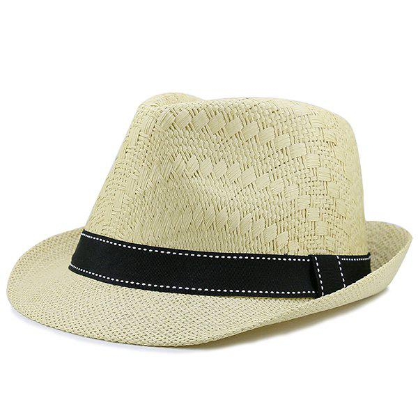 Woven Sunproof Ribbon Splicing Straw Hat - LIGHT KHAKI