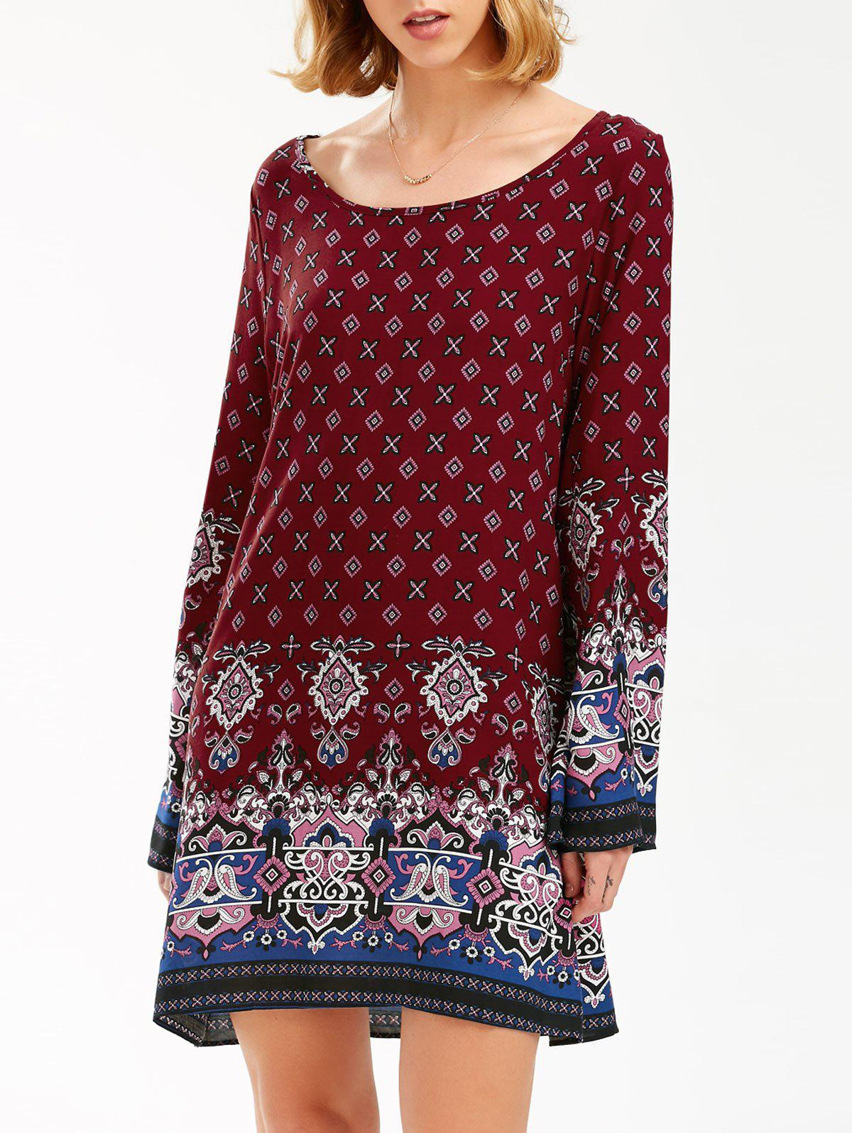Flared Long Sleeve Bohemian Print Tunic Dress - BURGUNDY S