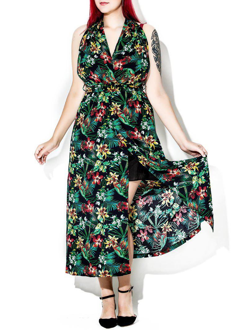 Tropical Floral Print Halter Backless Maxi Dress - multicolor 3XL