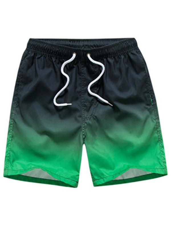 Ombre Drawstring Straight Leg Board Shorts - GRADUAL GREEN XL