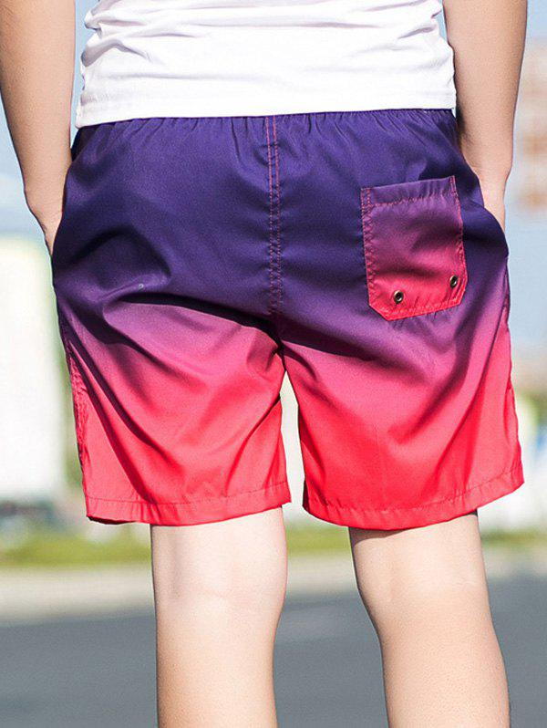 Ombre Drawstring Straight Leg Board Shorts - GRADUAL PINK 2XL