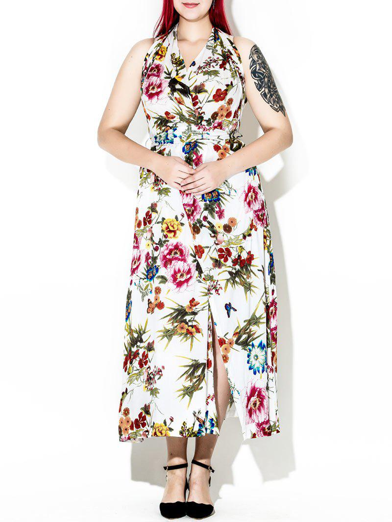 Halter Backless Floral Maxi Dress - multicolor XL
