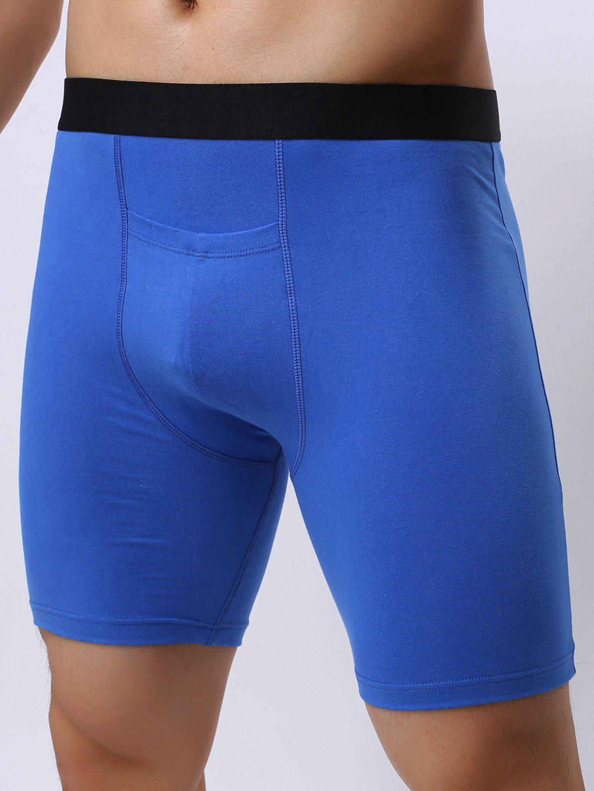 Color Block Stretch Front Pocket Design Shorts - BLUE XL