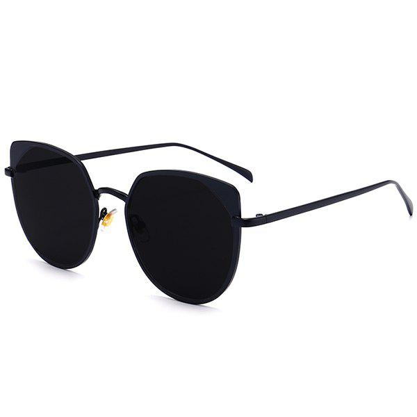 UV Protection Metal Cat Eye Sunglasses - DOUBLE BLACK
