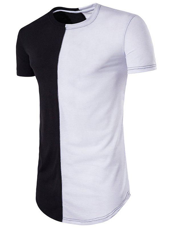 Curve Bottom Color Block Panel Longline T-Shirt - WHITE/BLACK M