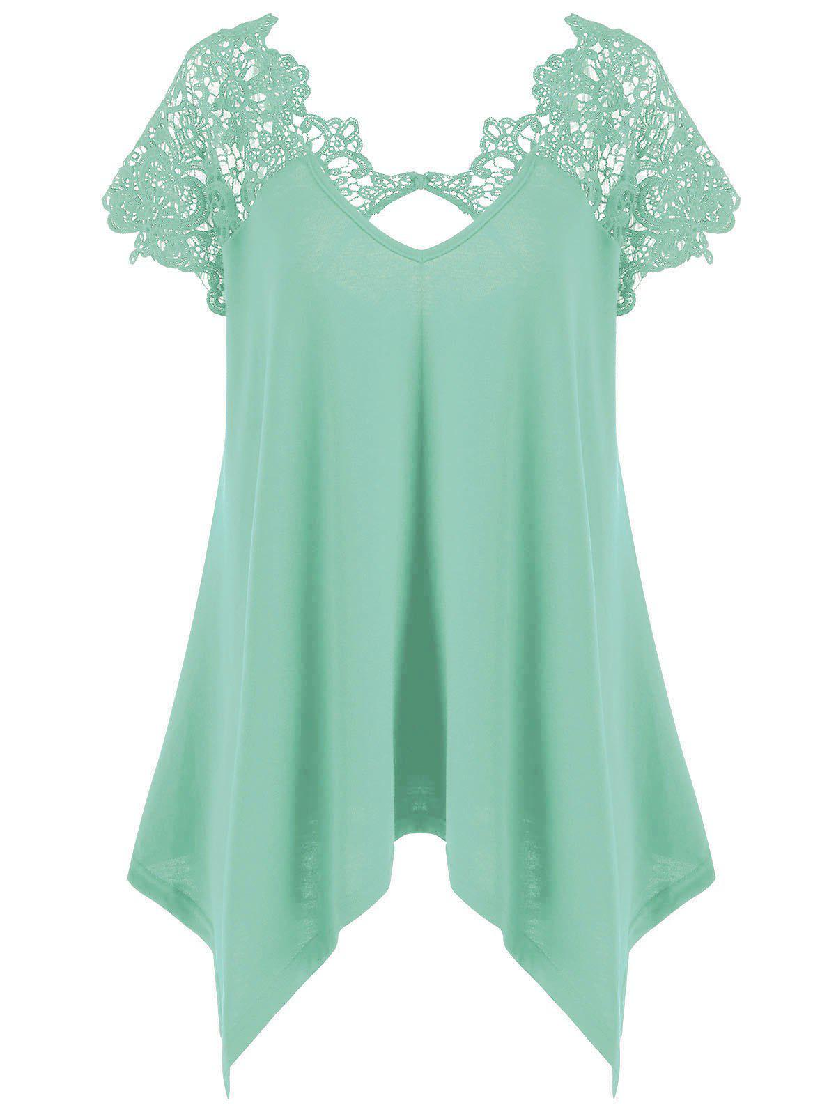 Plus Size Asymmetric Lace Trim T-Shirt - MINT 2XL