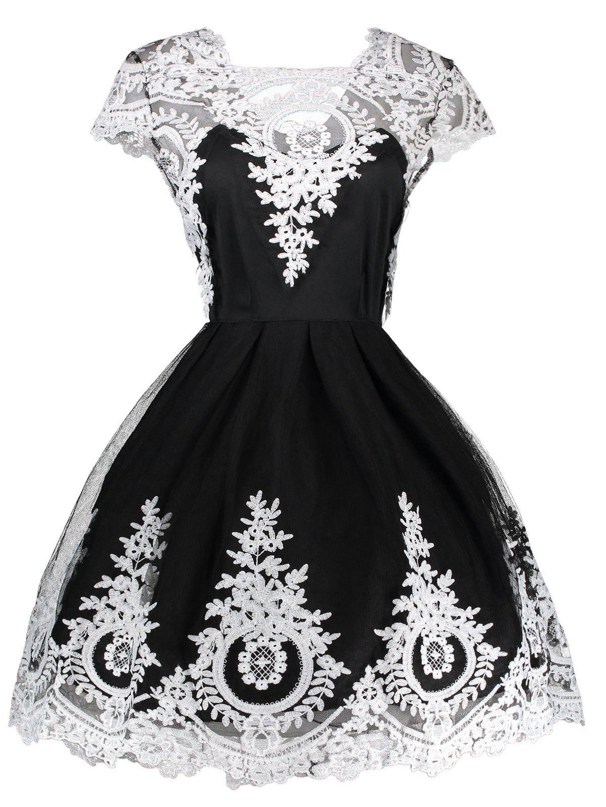 Vintage Lace Panel Fit and Flare Dress - BLACK S