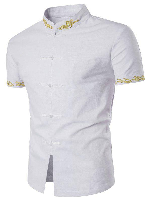 Floral Embroidered Mandarin Collar Short Sleeve Shirt floral embroidered short sleeve dress