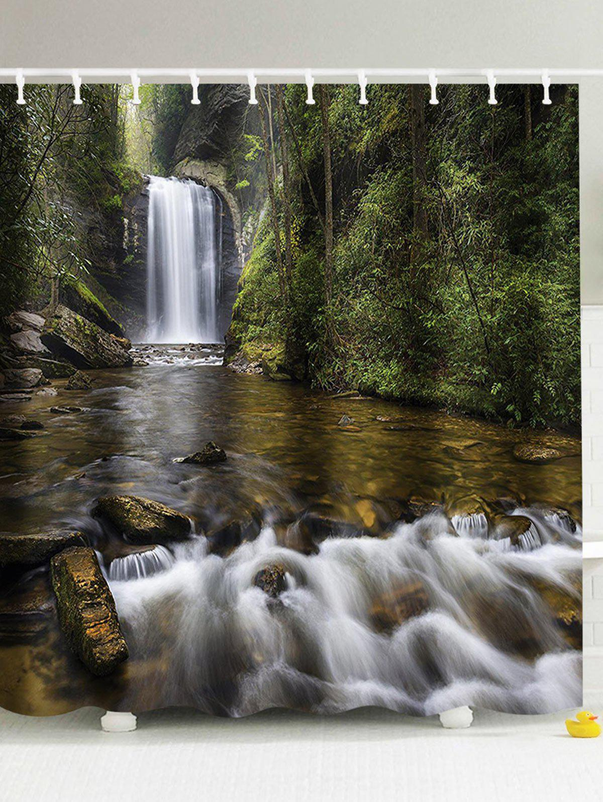 Natural shower curtain - Natural Landscape Waterproof Waterfall Shower Curtain Colormix W59 Inch L71 Inch