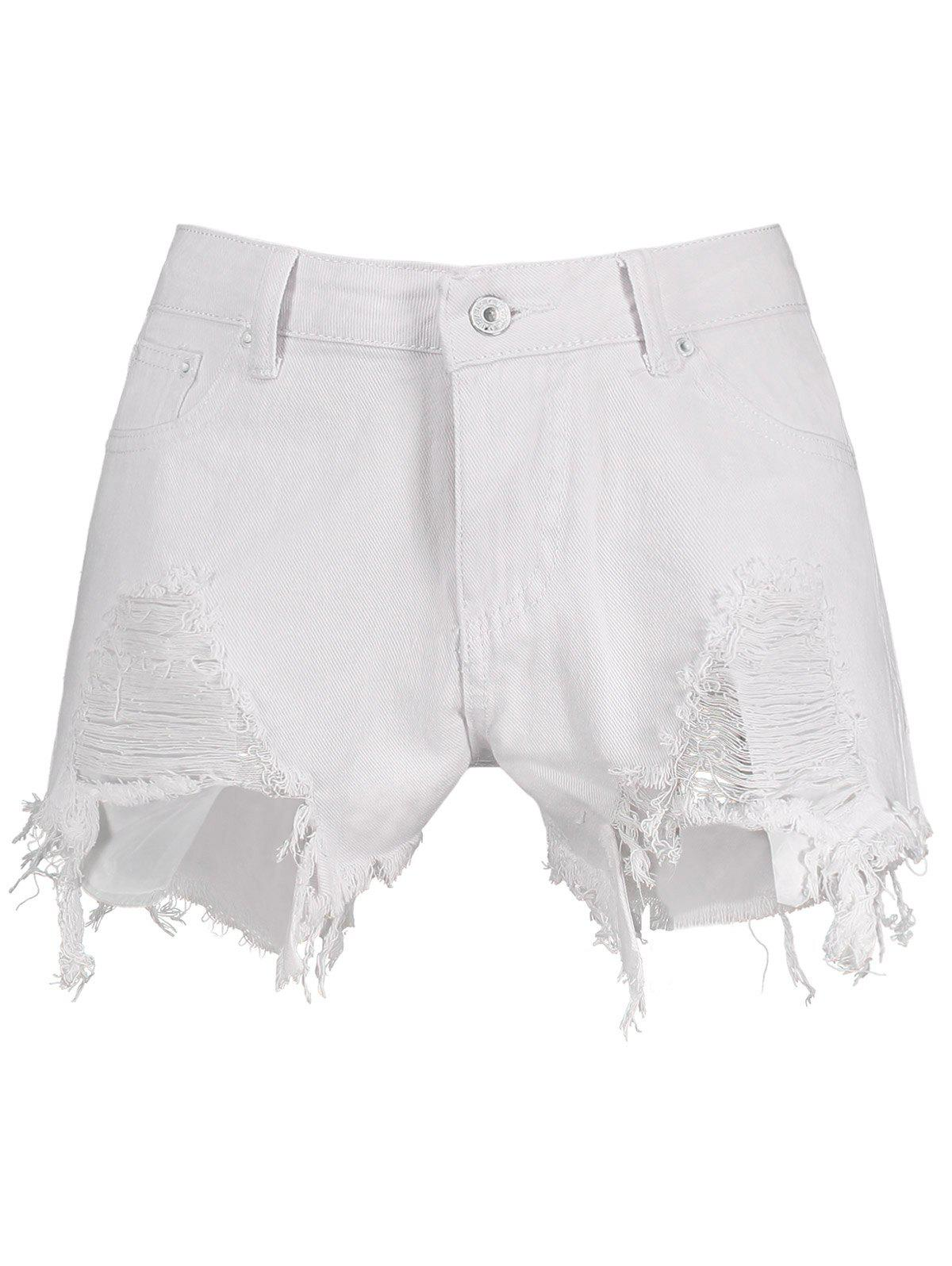 Ripped High Waist Denim Shorts - WHITE 2XL