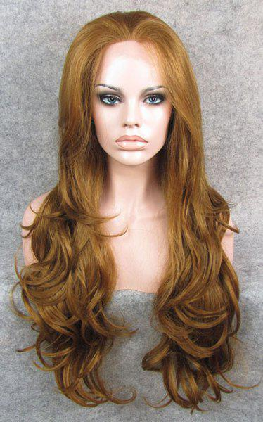 Trendy Fluffy Elegant Honey Blonde Long Wavy Heat Resistant Synthetic Women's Lace Front Wig