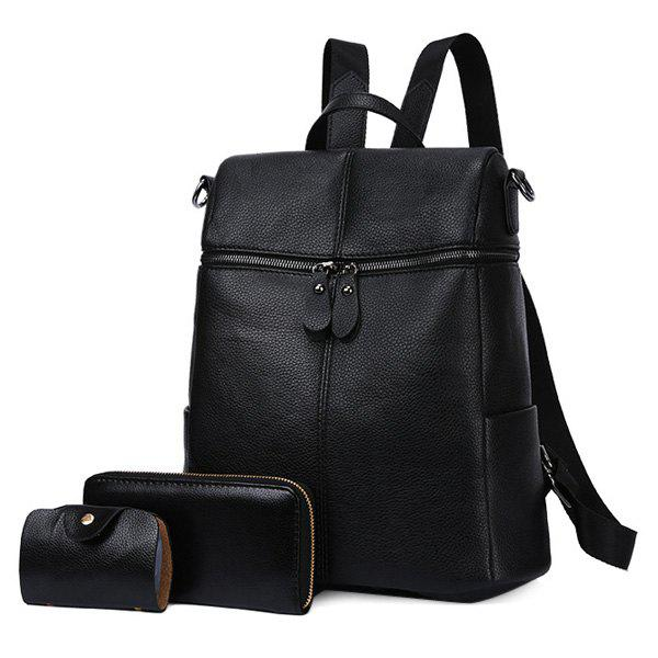 Ensemble Sac à Dos en Similicuir à Zip - Noir