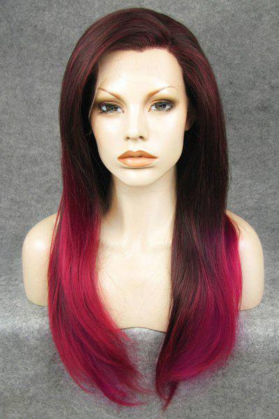 Trendy Dark Roots Red Ombre Stunning Long Straight Heat Resistant Synthetic Women's Wig - COLORMIX