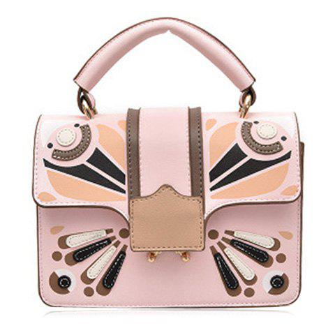 Cross Body Butterfly Printed Handbag - PINK