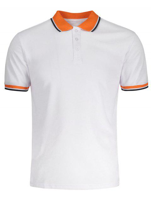 Turndown Collar Color Block Polo Shirt - WHITE 3XL