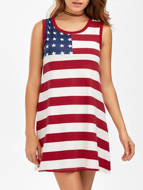 American Flag Patriotic Mini Tank Dress - COLORMIX XL