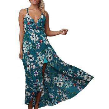 Floral Chiffon Backless Crisscross Maxi Slip Dress