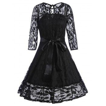 Belted Lace Overlay A Line Dress