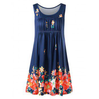 Scoop Neck Floral Sleeveless Dress