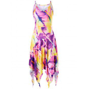Feather Print Handkerchief Slip Dress