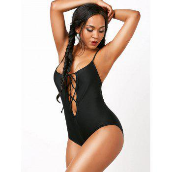 Lace Up Spaghetti Strap Plunging Swimsuit