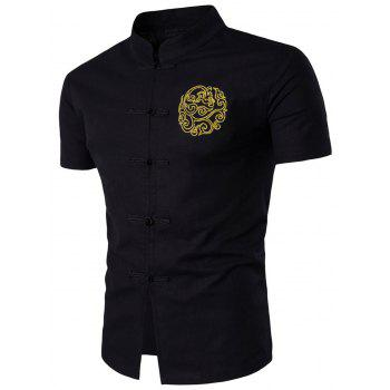 Mandarin Collar Chinese Style Embroidered Shirt