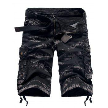 Zipper Fly Pockets Straight Leg Camouflage Cargo Shorts