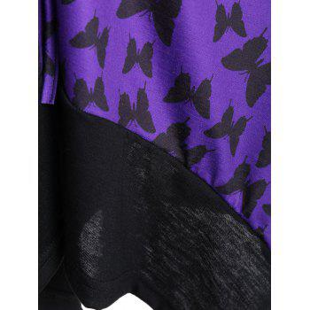 Asymmetric Mesh Trim Butterfly Print Plus Size Top - PURPLE PURPLE