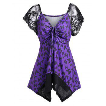 Asymmetric Mesh Trim Butterfly Print Plus Size Top