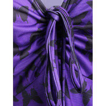 Asymmetric Mesh Trim Butterfly Print Plus Size Top - PURPLE 5XL
