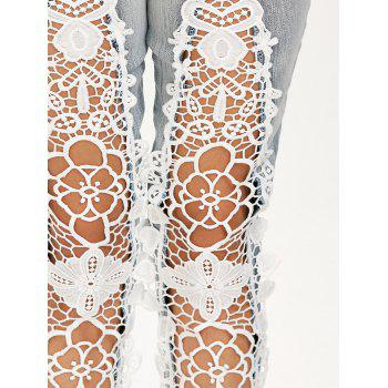 Openwork Lace Panel Low Waist Jeans - COLORMIX XL
