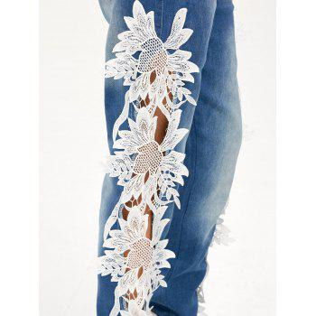 Hollow Out Lace Panel Jeans - BLUE/WHITE S
