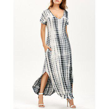 Side Slit V Neck Tie Dye Maxi Dress