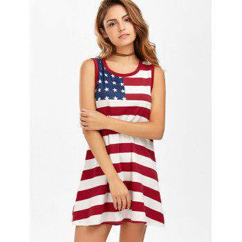 American Flag Patriotic Mini Tank Dress - multicolorcolore L
