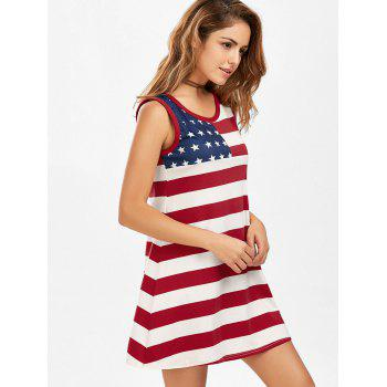 American Flag Patriotic Mini Tank Dress - multicolorcolore XL