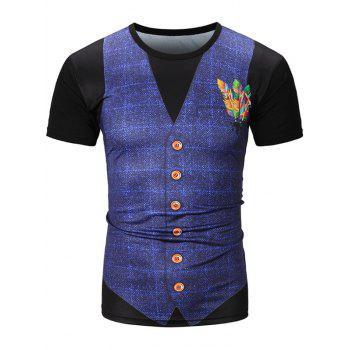 Feather Waistcoat 3D Print Grid T-Shirt