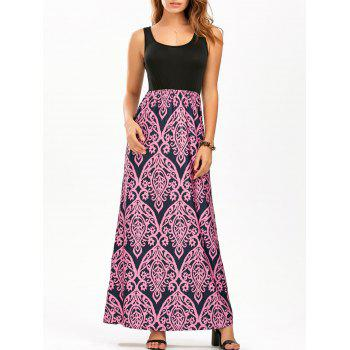 U Neck Printed Maxi Tank Dress