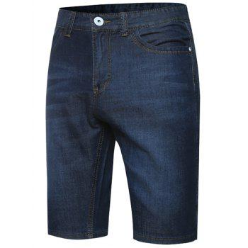 Zipper Fly Checked Trim Denim Shorts