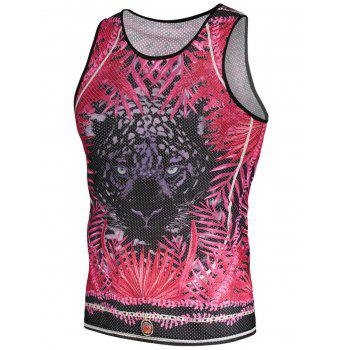 3D Animal Printed Mesh Tank Top
