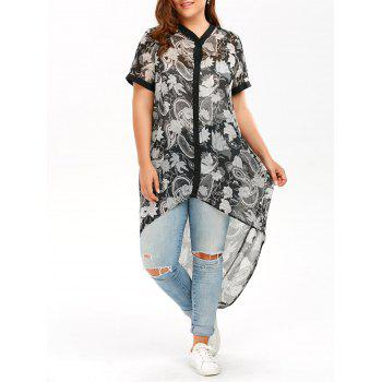 High Low Plus Size Chiffon Top