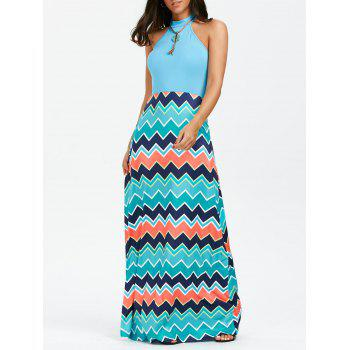 Sleeveless Chevron Maxi Dress