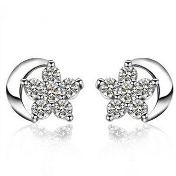 Rhinestone Moon Star Stud Tiny Earrings