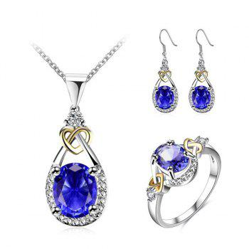 Rhinestone Faux Gem Teardrop Heart Jewelry Set